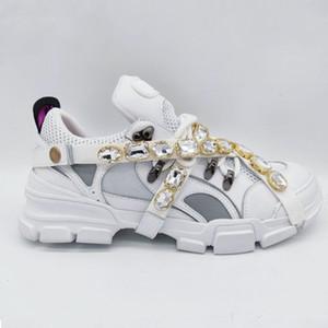 Sapatilha Flashtrek com Cristais Removíveis Mens Designer De Luxo Sapatos Casuais Moda Designer De Luxo Das Mulheres Sapatos Tênis Tamanho 35-45