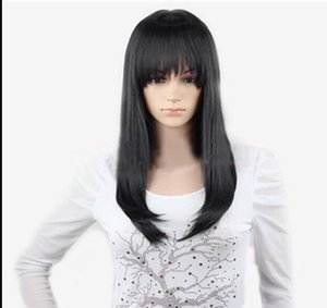 WIG FREE SHIPPING Hot heat resistant Party hair>>>>New Cosplay Fashion Party Casual Black Medium Long Straight wig