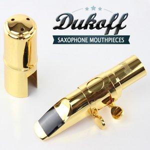 Profesyonel Dukoff Tenor Soprano Alto Saksafon Metal Ağızlık Altın Vernik Kızak Ağızlık Sax Dukoff Ağız adet 56789