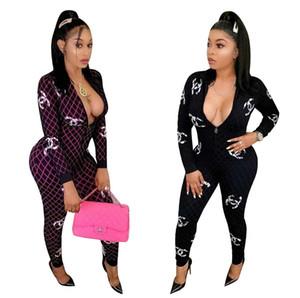 Donna tute pagliaccetti pantaloni mutanda lunga Playsuit donne cerniera bodycon moda complessiva abbigliamento notte clubwear a maniche lunghe klw2802