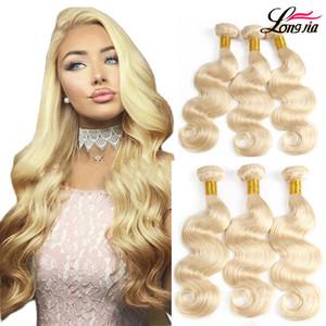 Vücut Dalga 613 Sarışın İnsan saç örgüleri Malezyalı Vücut Dalga bakire Saç 3 Paketler% 100 İnsan saçı Uzatma