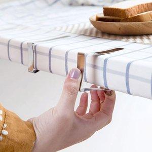 Nappe 6PCS en acier inoxydable Pinces de mariage Promenade de table Porte-couverture clip Promenade / Conseil ronde Clips stables