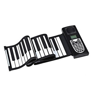 Hand Roll Piano, Portable 61 Keys Professional Smart Folding Piano Silicone Hand- Rolled Electronic Pianos Beginner Instrument U