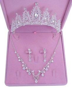 CZ Цирконий австрийской невесты Headdress ювелирные изделия Свадебные ожерелье серьги Кристалл короны Tiara