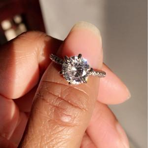 Clássico de noivado Cubic Zircon Anéis 6 Garras 8 milímetros design de jóias de presente branca Cubic Zircon Feminino Mulheres casamento da faixa CZ Anéis Moda