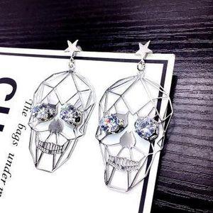 Vintage Hip Hop Skull Designer Earrings Elegant Hollow Girl Stud Earrings Luxury Silver Women Wedding Earrings Jewelry Unprocessed