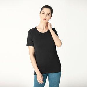 Lu-2 Yoga-Kleidung Top-Frauen-kurzärmliges Sommer New Moisture Wicking Lauf Gym Sport-T-Shirt mit weißen Yogahosen Mädchenkleid plus Größe