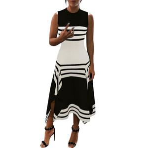 Été Femmes Robes Chevron sans manches imprimé rayé à encolure dégagée en vrac Long Beach Maxi Dress Sundress Casual