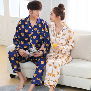 Пара Пижама Женщина Полного рукав шелкового атлас Pajama наборы мультфильм Медведь пара пижамы для женщин пижамы наборов Pijama
