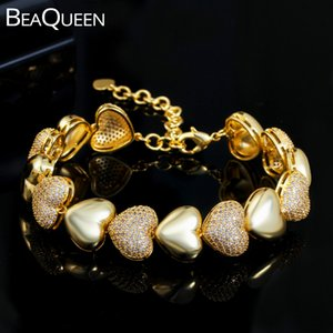 BeaQueen Love Heart Shape Bracelets for Women Micro Paved Cubic Zirconia Gold Color Adjusatble Boho Bangle Party Jewelry B194