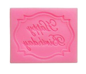 Feliz Cumpleaños Letter decoración molde de silicona molde de pastel de chocolate fondant herramientas de molde de la magdalena