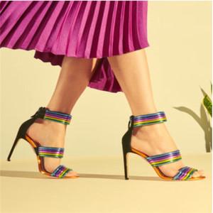 Nuovo Colorful tallone Strappy coperto Arcobaleno donne peep toe sandali sexy abito tacchi alti per i pattini dei sandali gladiatore