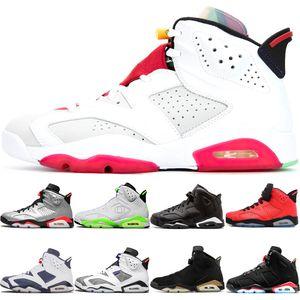 6 6s Black Infrared 3M Reflect Carmine UNC Zapatillas de baloncesto Hombre Carmine Olympic Angry bull Sneakers