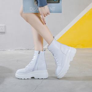 la plataforma blanca botines para mujer zapatos de invierno mujeres de la moda de tacón alto botas de cuero genuino mujer invierno 2020 cremallera TSDFC