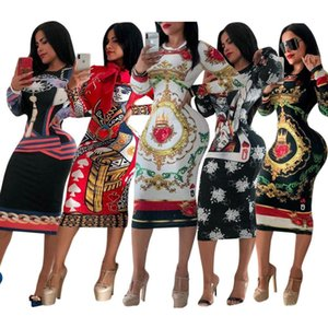 Women Long Sleevess Dresses Autumn Bodycon Print Dress for Party Wedding Casual Dress