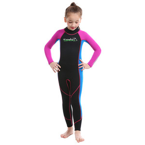 kids full wetsuits flat stitch for girls surfing swimming 2mm neoprene superflex customized logo and design available