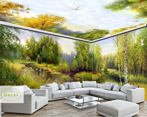 Bacal Custom 3D Fototapeten Tapeten Natur Bäume Wald Sonnenschein Fototapeten Wohnzimmer Deckengemälde Papel De Parede 3D