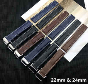 Cinturino di lusso in vera pelle cinturino per cinturino Breitling per Navitimer World Avenger / navitimer Cintura 22mm 24mm Logo su T190620