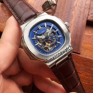 New Nautilus 5712 Steel Case Blue Skeleton Dial Tourbillon Miyota Automatic Mens Watch Brown Leather Watches 6 Colors Timezonewatch E14c3