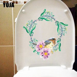 YOJA 18.9X21.5CM Watercolor Garland Bird Creative Home Wall Sticker Room Decoration Toilet Decals T1-2278 Other Home Decor