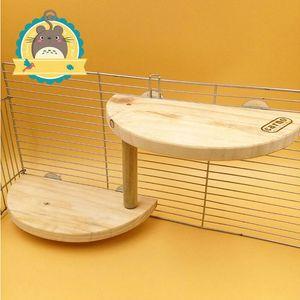 CARNO 2-Tier Kleintiere Spielzeug Holzkäfig Plattform Regal-Brett für Chinchilla Hamster Eichhörnchen-Ratte