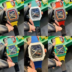 6 stili orologi Mens Watch RM052 in fibra di carbonio RM27-03 RM57-02 Lunetta squelette scheletro automatico Mens Movimento Top Quality matrice di lusso