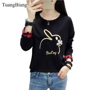 TuangBiang 2019 осень вышивка кролик футболки женщина с длинным рукавом бисером свободные женские плюс размер зимние топы camiseta mujer