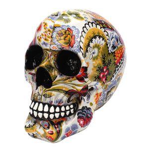 Horror Skull Decoration Resin Skull Color Flower Painting Halloween Home Bar Table Desktop Decoration Craft Gift