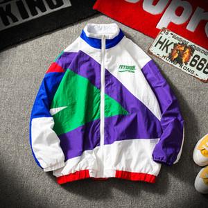 Japanese Streetwear Jacket Men Cor Retro costura Full Zip casaco corta-vento Jacket Outono Primavera Moda Casual Hip Hop S191019