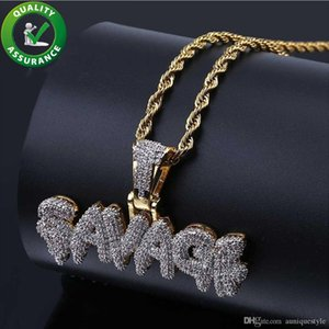 Ciondolo Iced Out Hip Hop Jewelry Designer Collana Oro Mens Diamond Catene Ciondolo Micro Pave CZ Bling Bubble Lettera SAVAGE Charms moda