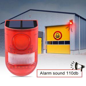 Solar Alarm Lamp 110db Warning Sound 6led Red Light IP65 Impermeabile sensore di movimento Luci di avvertimento per il magazzino Secret Place Wall