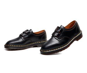 Dr. alta calidad de los hombres zapatos de vestir de las mujeres más el tamaño 34-46 de los pares clásico Bullock cuero de los zapatos Oxford zapatos inferiores Business Flats Negro con la caja