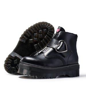 moda de alta calidad de la hebilla del negro de la cremallera cortas mujeres botines del tobillo del cuero genuino de los cargadores de Martin grandes del tamaño 35-41