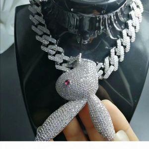 Hip Hop Schmuck gefrorener heraus Anhänger Diamant Tennis Cuban Link Kette der Männer Luxus Designer Halskette Bling Kaninchen Big Anhänger Rapper Hiphop Boy
