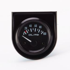 Araba Yarışı 52 MM Siyah Tek Yağ Basınç Göstergesi 0-100 PST Beyaz LED ışıkları