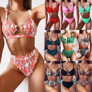 2020 modelli esplosione swimwear delle signore del commercio estero costume da bagno spaccato di leopardo bikini verde nuovo colore solido dello swimwear il trasporto libero