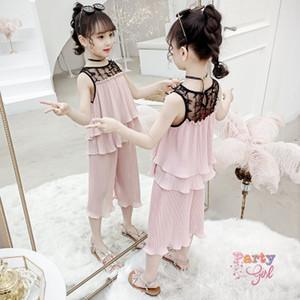 2019 muchachas del verano ropa de la gasa del desiner ropa de la muchacha traje de la moda coreana de los niños del chaleco de los niños grandes pierna ancha pantalones de dos piezas