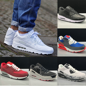 Nike Air Max 90 shoes for men Hombres y mujer Zapatos Negro Rojo Blanco Entrenador Cojín de aire Superficie Respirable Zapatos casuales 36-45