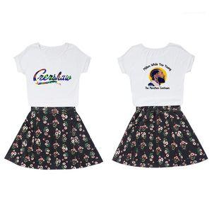 Imprimé floral costumes Jupe d'été Designer Crop Top A Jupe Ensembles Nipsey Hussle femelles Fan Cheerleaders Robe Femmes 2PCS