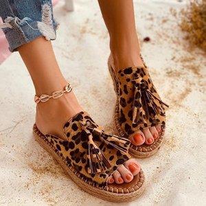Tassel Women Sandals Leopard Flat Sandals Comfort Women Shoes Woman Sandalie Light Women Slippers Ladies Shoes Plus Size 42 43 Y200702