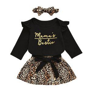 Детские девушки платье костюмы Infant письмо Ruffler Ромпер Топы Детский конструктор Одежда Девочки Кружева Leopard Юбки оголовье малышей Повседневный Outfit
