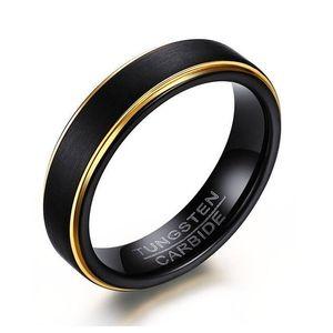 ZORCVENS 2018 New Cool Black e Gold-Color Tungsten Ring per uomo Gioielli 6MM Black Tungsten Carbide Ring