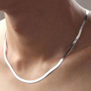 2021 Unisex Flat Snake Bone Cadeia Colar 45cm 50cm lâmina lâmina gargantilha para as mulheres homens 925 prata jóias san3
