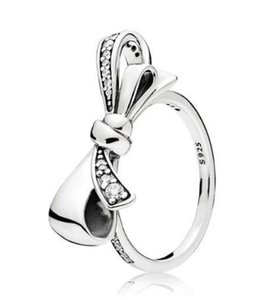 Original 925 Sterling Silver Ring Brilliant Bow With Crystal Rings For Women Wedding Party Gift Fashion Jewelry