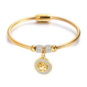 Mode Baum Des Lebens Frau Armbänder Armreifen Silber Farbe Gold Charme Armband Edelstahl Schmuck Für Frauen GH924