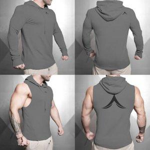 Uomini muscolosi Fleece Pullover Felpa con cappuccio Sport Palestra Long / Short maglietta Top