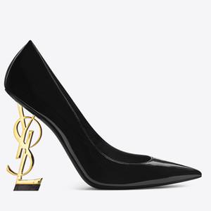 10 centimetri alto oro scarpe tacco Patent Leather Lettera tacco scarpe da sposa moda sposa Modest partito delle donne del partito di modo scarpe da sera Dress 2