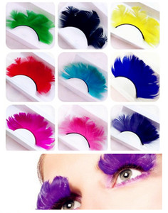 New Feather False Eyelashes Festivals Colorful Stage Lightweight False Eyelashes Overlength Pure Color Cruling Eyelashes One Pair
