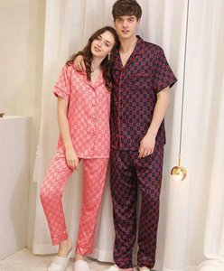 Couple pajamas long-sleeved spring thin section silk home service suit womens and man sexy pajamas two-piece sleepwear