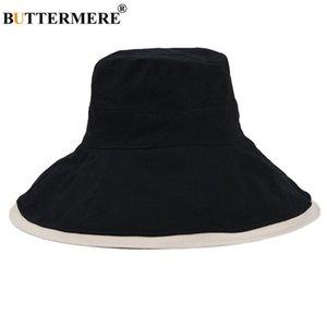 Buttermere frente e verso reversível Mulheres Chapéu Panamá Preto Cotton largas Bim Sun Proteção Caps para senhoras Sólidos Fisherman Hat